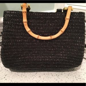 Black woven Croft + Barrow bag w polka dot lining